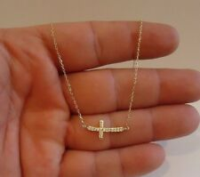 SIDEWAYS CROSS NECKLACE PENDANT W/ LAB DIAMONDS  / 925 STERLING SILVER /16''