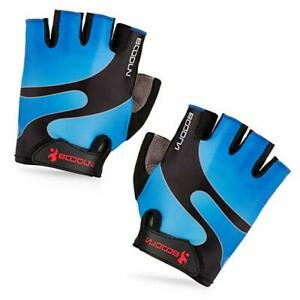 BOODUN Cycling Gloves with Shock-absorbing Foam Pad Breathable Half Finger Blue