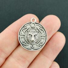 4 Wolf Celtic Knot Pendant Charms Antique Silver Tone - SC4803