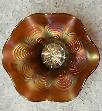 Fenton Carnival Glass Hat Shape Amathest Peacock Tail Interior