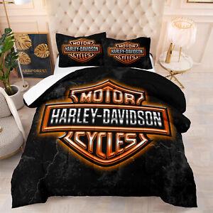Harley Davidson 3D Comforter Bedding Set Duvet Quilt Set with Pillowcase#5011