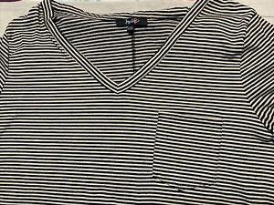 Impulsive Black Striped V-Neck Top 3X Plus Rayon Spandex Short Sleeve Pocket 126