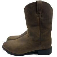 Ariat Pro Pull On Ropers Brown Leather  Western Cowboy Boots Men's 12 EE Wide