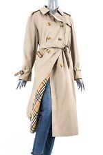 BURBERRY LONDON PRORSUM WOMENS LONG DOUBLE TRENCH COAT NOVA CHECK PLAID 18 UK