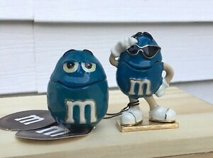 SET of 2 M&M Blue Character Monet Enamel Hinged Keepsake Trinket Jewelry Box