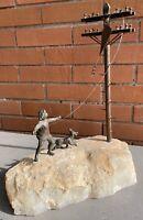 Nice VIntage Curtis Jeré Boy Dog Kite Sculpture Mid Century Modern Quartz Base