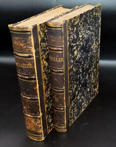 Friedrich Schiller Sammtliche Werke Vol I & II 1855 Philosophy Leather Spine