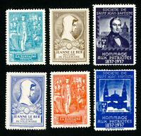 "France Stamps # 6 Labels 1937 ""Hommage aux Patriotes"