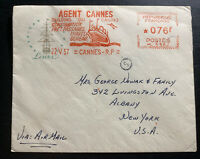 1957 Cannes France Meter Cancel Airmail Cover To Albany NY  Usa