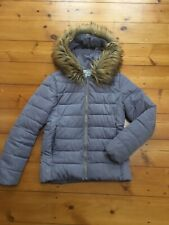 Ladies Grey Hooded Puffer Coat With Faux Fur Trim Size XL 13-14 Years
