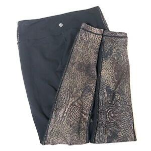 Lululemon Snakeskin Leggings Size 6 Black Women Pants 26 Inch Waist