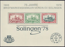 Sonderdruck 75 Jahre BSV Solingen 1978 mit drei Kolonialmarken ** (1-169)