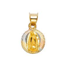 14k Yellow White Rose Gold Religious Virgin Mary Tiny Charm Pendant Unisex