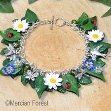 Summer Flowers Daisy and Forget Me Not Bracelet - Handmade Clay, Pagan Jewellery