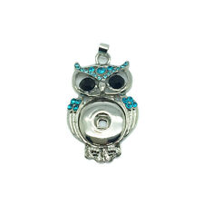NEW OWL Crystal Alloy Pendant for Fit Noosa Necklace Snap Chunk Button DR189