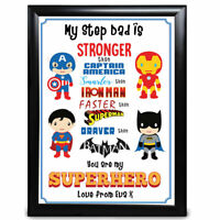 Personalised Super Hero Step Dad Gifts Print Birthday Fathers Day Christmas Best