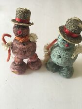Vintage Pink & Blue Glitter Snowman From Japan. Some Wear On The Hat.