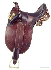 17 Inch Australian Saddle - Stockman Bush Rider - Dark Oil-With Horn-Wide Tree