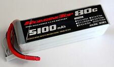 RoaringTop LiPo Battery Pack 80C 5100mAh 6S 22.2V with Bare Leads