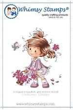 """Stempel """"Peggy"""" Whimsy Stamps, Mädchen mit Blumen, rubber stamp"""