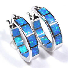 "Hoop Earrings with Blue Fire Opal Inlay 925 Sterling Silver 5/8"" or 17mm"