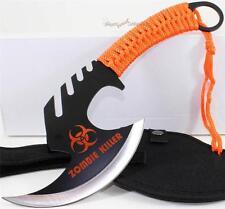 Zombie Killer Skull Splitter Throwing Axe Combat Fighter Survival Knife+Sheath O