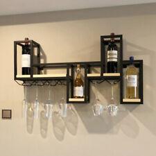 Wall Mount Metal Wine Rack Bottle Holder Bar Accesories Display Shelf