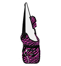 PINK ZEBRA Stripe  Messenger Sling Body Bag Backpack Purse Small Free Shipping