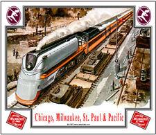 MILWAUKEE RAILROAD TIN SIGN /// TRAIN  HIAWATHA