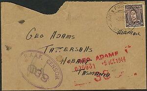 WWII Australien Af - Censure 838 To Geo Adams Tattersalls Hobart Tasmanie S930