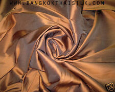 6 YARDS LOT BRONZE BROWN 100% AUTHENTIC SILK FABRIC Drape Dress Costume Blouse