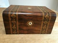 Victorian large sewing box with Tunbridge Ware marquetry panels -  lift-out tray