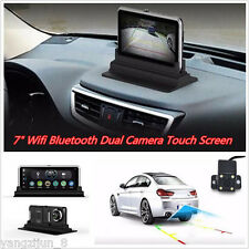 "WIFI HD 1080P 7"" Android Car Dual Camera Rear View DVR Recorder+ GPS Navigator"