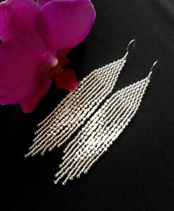 Handmade long seed bead fringe earrings white silver woman boho earrings gift