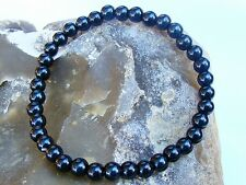 Elasticated BLACK GLASS Men's 6mm beads gemstone streachable bracelet