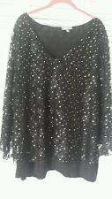 Essentials Plus size 4X black shell with black lace embellished attached cape