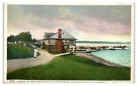 1919 Saranac Inn Boat House & Dock, Upper Saranac Lake, Adirondacks, NY Postcard