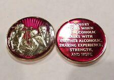 AA Sponsor Coin Medallion Mandarin Red Enamel Alcoholics Anonymous Chip