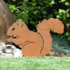 Rusty Metal Squirrel Silhouette Stake Decorative Garden Art Ornament Decoration