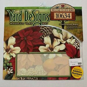 Yard DeSigns Magnetic Yard Art Sign Poinsettia and Magnolia W/ Address Numbers