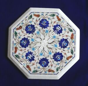 """12"""" Marble End Tables Lapis Lazuli Coffee Table Top Marquetry Inlaid Arts"""