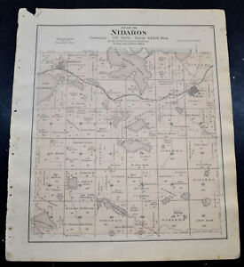 1884 OTTER TAIL COUNTY MAP MINNESOTA Girard and Nidaros Townships