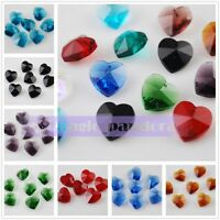 10pcs 10mm Heart Pendant Faceted Crystal Charms Glass Craft Spacer Loose Beads