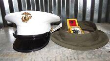 Usmc Dress Blues White Vinyl Cover Hat Size 7 Bernard Cap Alpha Green