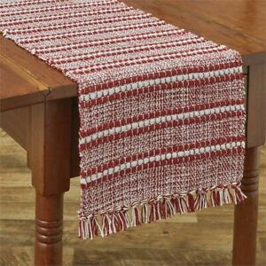 """Park Designs Peppermint Stripe Table Runner 13 x 36"""" Red White Holiday Christmas"""