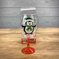 Hand Painted Christmas  Wine Goblet/Glass Ornament penguin