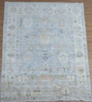 8x10 Handknotted Oushak Fine Wool Rug Ivory,Gray, Blue,Pink,Tupe 1/2' P