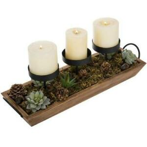 3-Pillar Tabletop Candle Holder with Brown Wood Tray w/ Black Metal Handles
