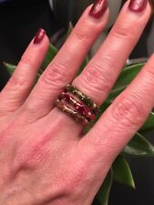 NEW Enamel stackable ring 1 Gold Tone Brown Topaz Enamel Band Size 7