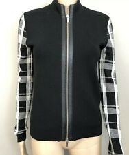 e4927bf24b2 Black Wool Front zip Sweater with plaid Sleeves by Karen Millen sz 1/ sm